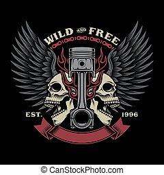 motociclista, emblema, cranio, illustrazione