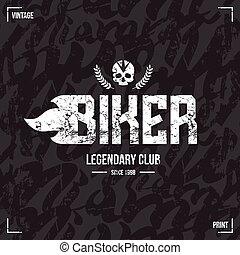 motociclista, modello, club, emblema, seamless