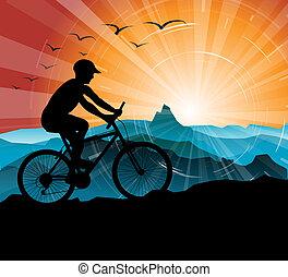 motociclista, silhouette