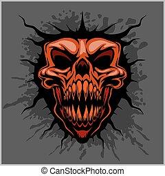 motocross, aggressivo, cranio, casco