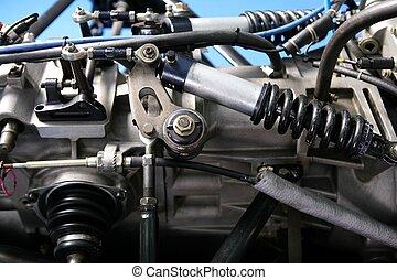 motore automobile, dettaglio, uno, formula