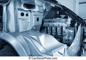 motore, automobile, interno, struttura