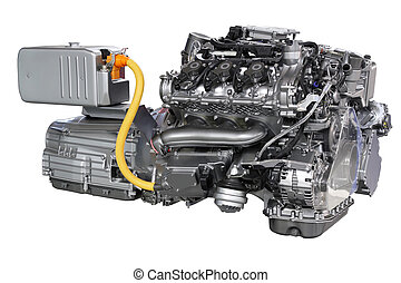 motore automobile, isolato, ibrido, bianco