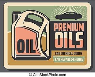 motore, automobile, olio, scatola di latta, vettore