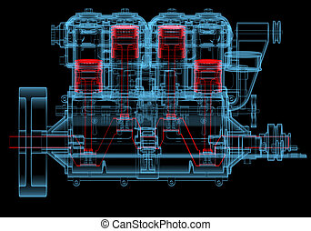 motore, blu, combustione, (3d, transparent), xray, interno, rosso