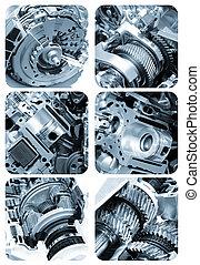 motore, collage, automobilistico, componenti, sezionale, vista