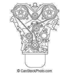 motore, interno, combustione