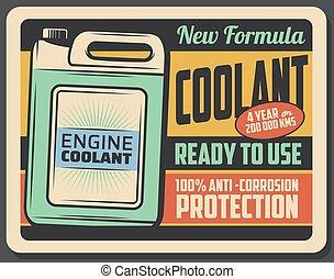 motore, manifesto, coolant, retro, manutenzione, automobile