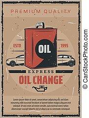 motore, olii, servizio, automobile, espresso, auto, manifesto, cambiamento