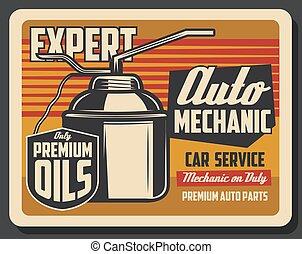 motore, pourer, olio, vendemmia, lattina, autovettura, lubrificante