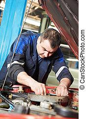 motore, riparazione, automobile, lavoro, meccanico, auto