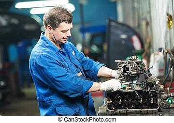 motore, riparazione, lavoro, meccanico, auto