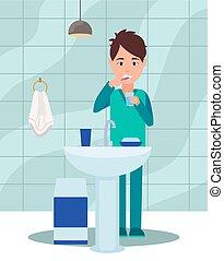 mouth., risciacquate, spazzolino, tipo, denti, suo, spazzole, concetto, routine, mattina