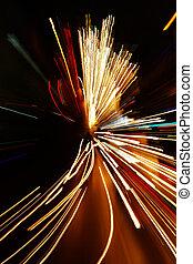 movimento, automobile, luci, sfuocatura zoom, effetto