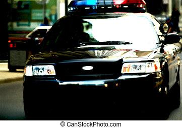 movimento, automobile, polizia