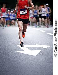 movimento, corridori, -, maratona, sfocato