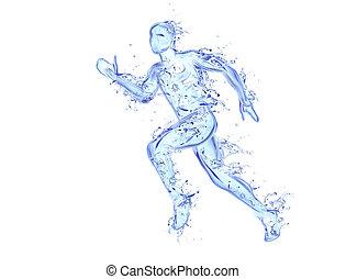 movimento, fatto, figura, liquido, atleta, -, acqua, correndo, grafica, cadere, gocce, uomo