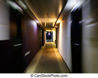 movimento, toned., corridoio, vendemmia, effetto, lungo, scuro, porte, offuscamento, molti, vuoto, stile