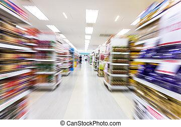 movimento, vuoto, offuscamento, corridoio, supermercato