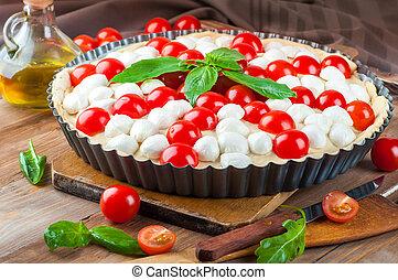 mozzarella, tomatoes., cibo, torta, pollo, italiano