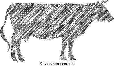 mucca, scarabocchiare, mano., silhouette, vettore, disegno, ombreggiatura