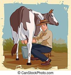 mucca, uomo, mungitura, retro