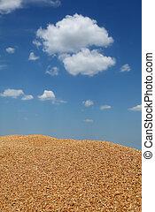 mucchio, agricoltura, raccolta frumento, raccolto, roulotte
