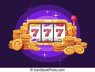 mucchio, illustrazione, moneta, macchina, fondo., casinò, slot, appartamento, viola, oro
