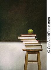 mucchio, libri, sgabello, mela