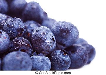 mucchio, mirtillo, frutte fresche, gocce, acqua