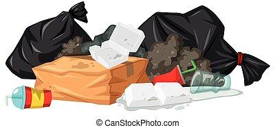 mucchio, rifiuti, plastica, schiuma