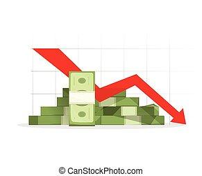 mucchio, verso il basso, freccia, grafico, recessione, contanti, rosso