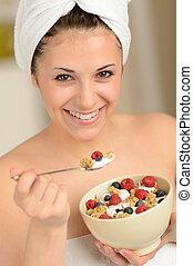 muesli, colazione, mangiare, ragazza, gioioso