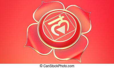 muladhara., simbolo, energy., illustrazione, 3d, chakra, equilibrio, primo