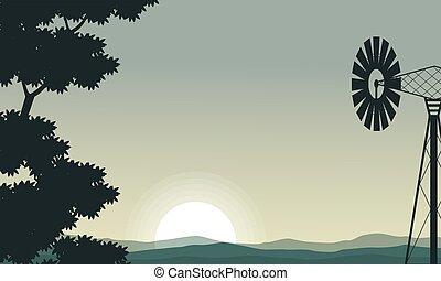 mulino vento, albero, silhouette, mattina