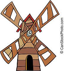 mulino vento, arte clip, cartone animato, illustrazione