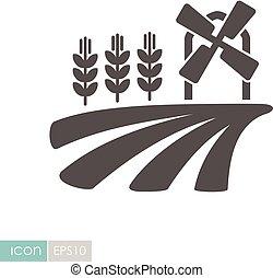 mulino vento, campo, orecchie, frumento, icona