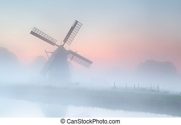 mulino vento, estate, nebbia, denso, alba