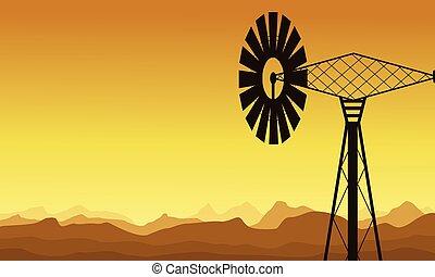 mulino vento, silhouette, alba