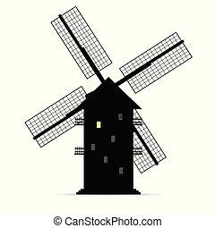 mulino vento, silhouette, luce, uno, finestra, vettore