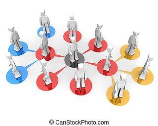 multi, affari, rete, livello, concetto