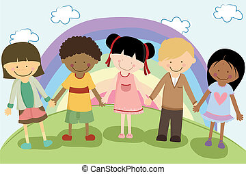 multi, bambini, etnico