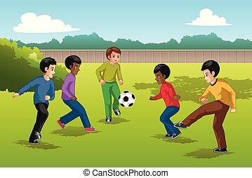 multi, bambini, gruppo, illustrazione, etnico, calcio, gioco