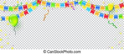 multi, checkered, colorato, garlands, celebrazione, festa., fiamme, confetti., anniversario, carnevale, esplodere, flags., vettore, compleanno, fondo, appendere, coriandoli, vacanza, bandiera