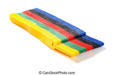 multi-colore, cavo, cravatta, velcro, bianco