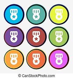 multi-colored, vettore, premio, segno., buttons., icona, medaglia, rotondo, onore, nove