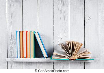 multi-coloured, books., libro, aperto, altro