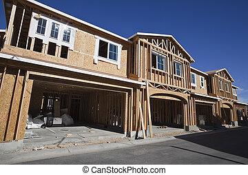 multi, costruzione, alloggio, famiglia, incorniciatura
