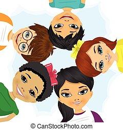 multi etnico, formare, cerchio, gruppo, bambini