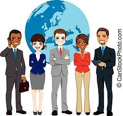 multi, globale, businesspeople, etnico, squadra